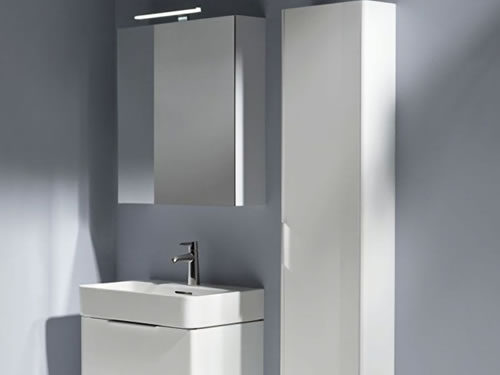 bathroom furniture including mirror, basin, vanity unit and cabinet