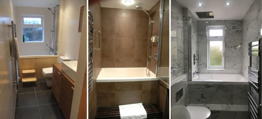 3 examples of small baths for small bathrooms, all with overhead showers.