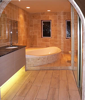 The custom-made bath in its finished setting.