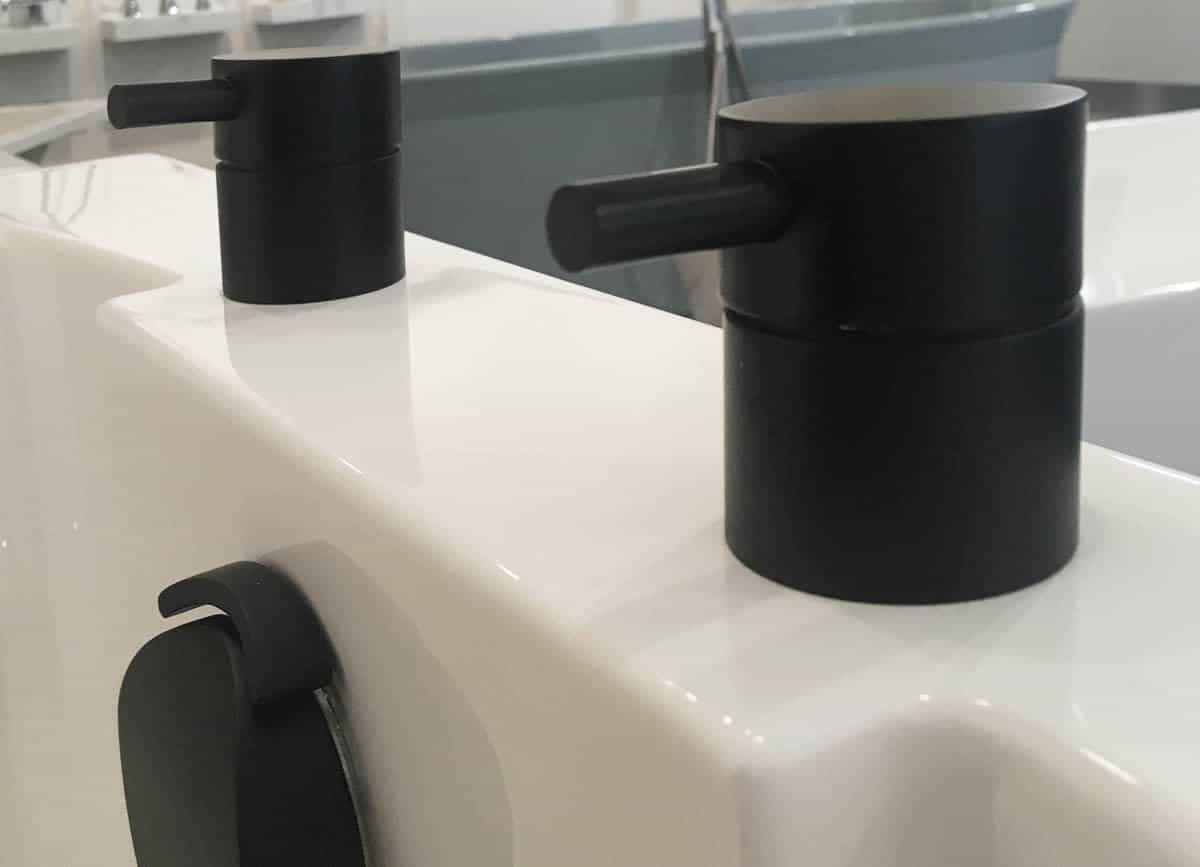 Cifial Black Deck Valves and Aqua Filler displayed on our showroom Nirvana Deep Soaking Tub