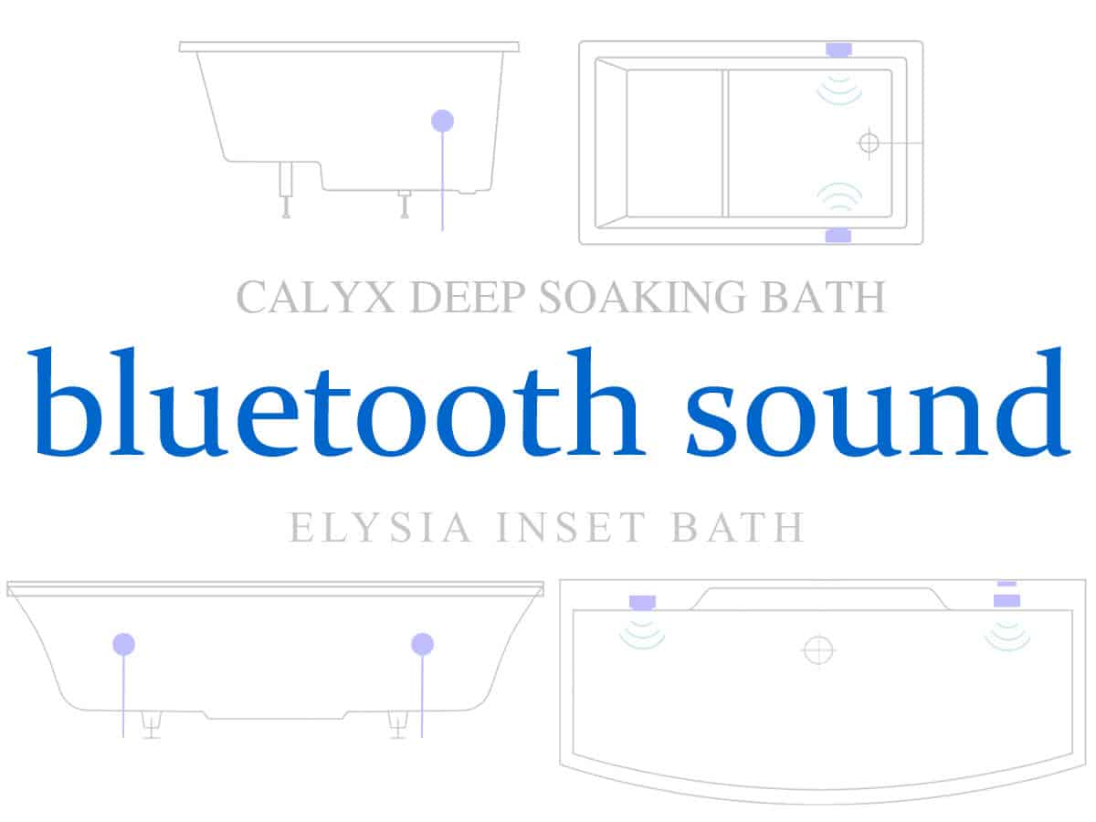 Bluetooth sound for baths - background image shows the placement of hidden speakers within the Calyx and Elysia baths.