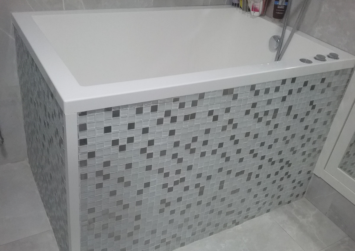 The Calyx deep soaking tub in the finished bathroom in County Kildare
