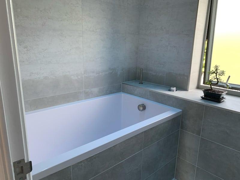 The Calyx deep soaking tub, installed in the bathroom in Huntingdon