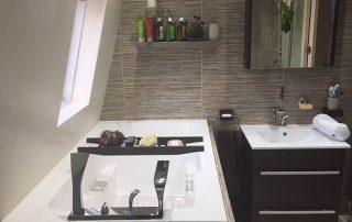 the Nirvana deep soaking tub in the remodelled bathroom in Swansea