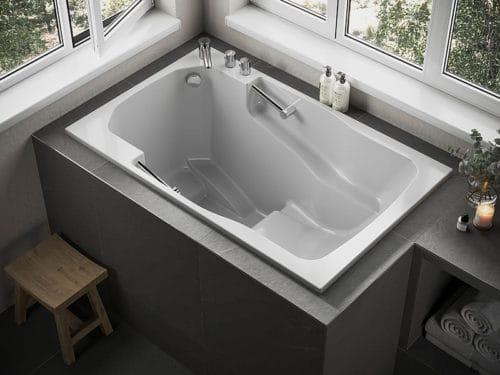 The Takara deep soaking tub, here installed under a corner window