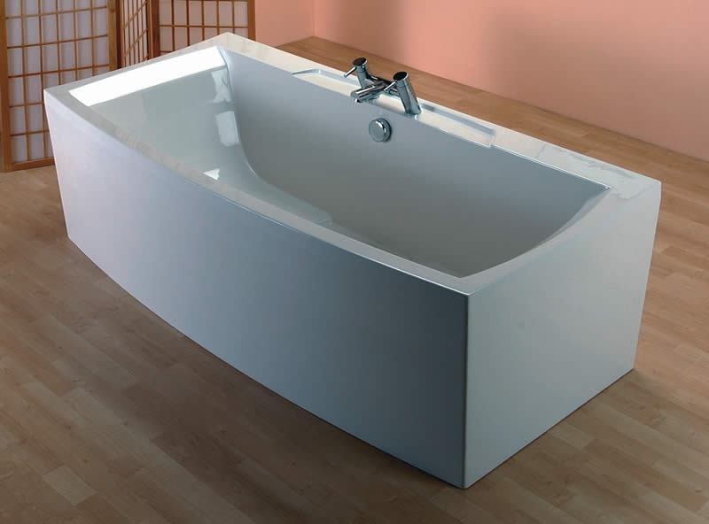 The Elsia free standing bath, tap deck visible