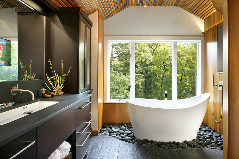 The Pleasance Plus free standing bath in an award winning bathroom design in New Jersey USA