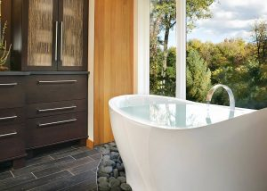 The Pleasance Plus freestanding slipper bath, in a New Jersey bathroom, USA