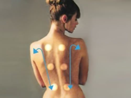 Hydro-massage points on a female's back.