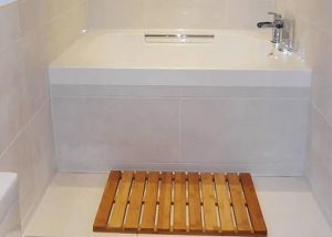 The Imersa deep soaking tub in the bathroom in Macclesfield, England