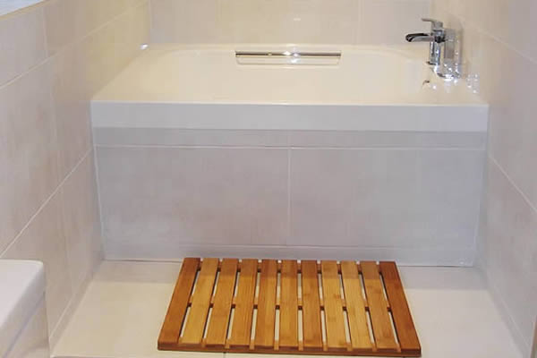 The Imersa deep soaking tub in the bathroom in Macclesfield, England