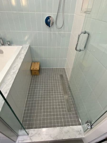 The wet-room with its walk-in shower