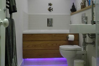 The Calyx Japanese style soaking tub with underlighting, Helensburgh, Scotland