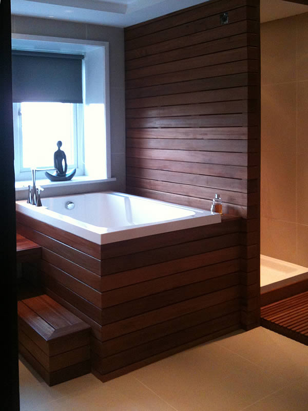 The Nirvana set in a wood panelled surround beside a shower cubicle