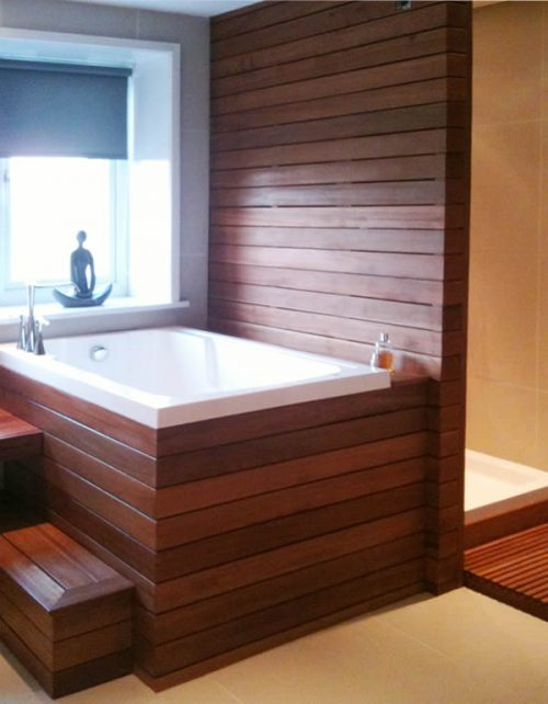 The Nirvana Japanese style soaking tub in a wooden surround