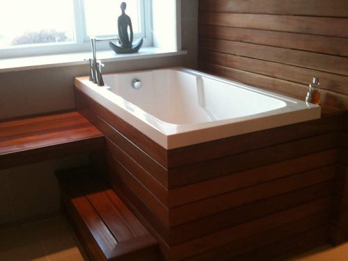 The Nirvana Japanese-style soaking tub with a traditional wooden surround