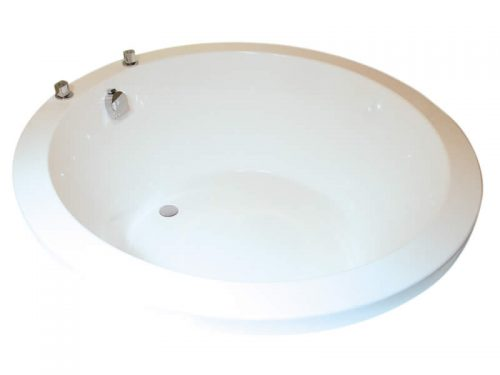 The Oberon large circular bath, shown with combined filler and overflow