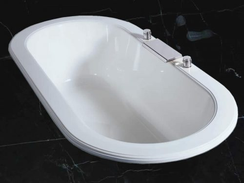 The Palladian two-person oval bath set into a marble floor