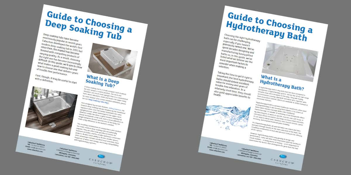 Front pages of the two guides - soaking tubs and hydrotherapy