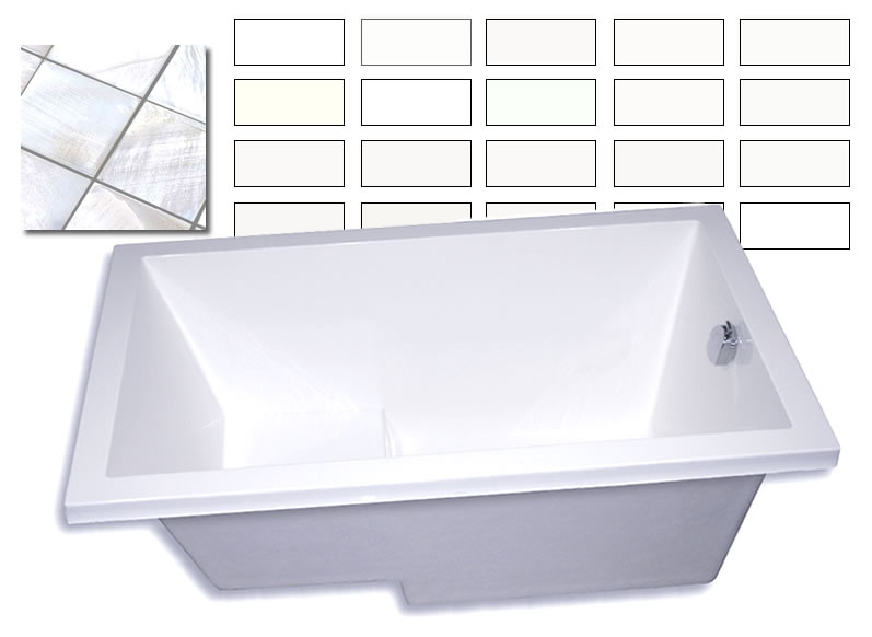 The Calyx deep soaking tub and some of the 85 different whites we can produce.