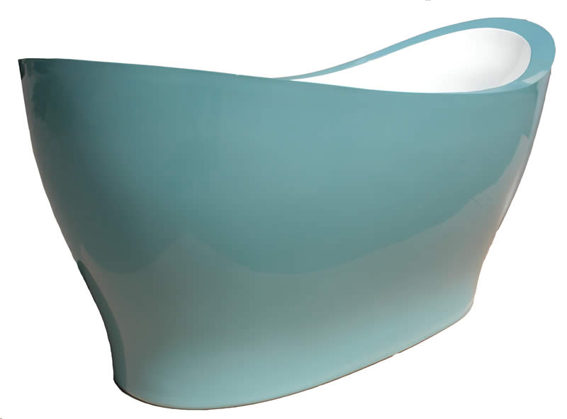 A Pleasance Plus free standing bath with a white interior and coloured exterior.