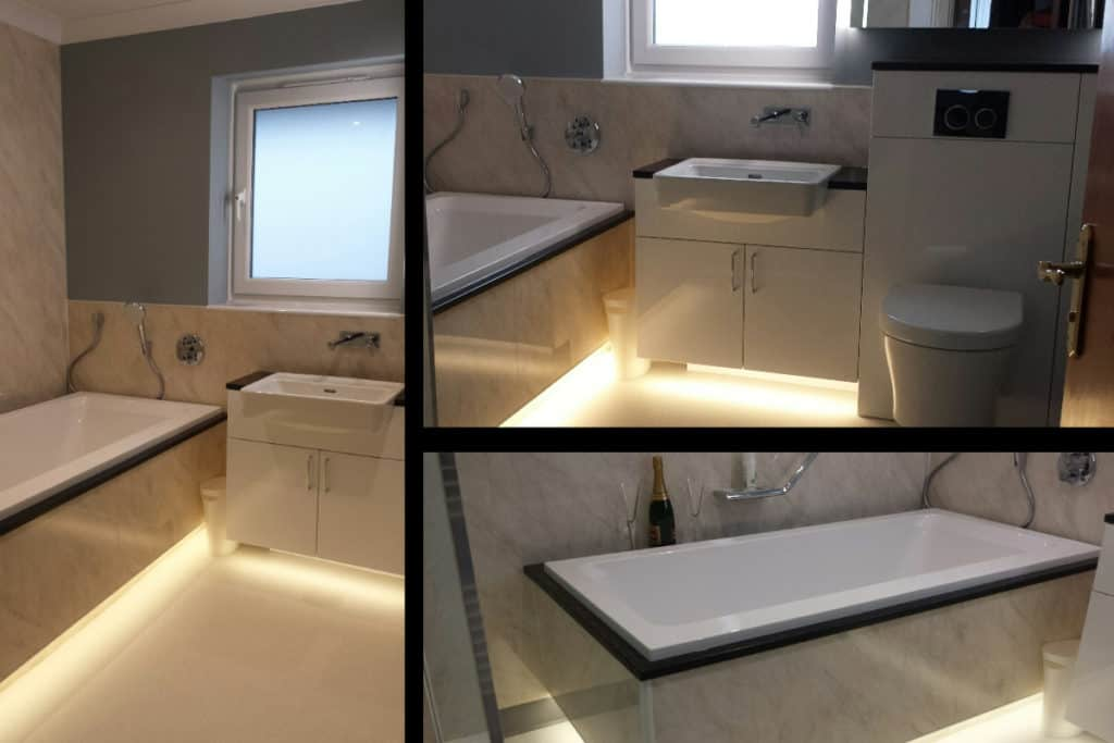 3 photo montage of the Serenity 1700 built in bath
