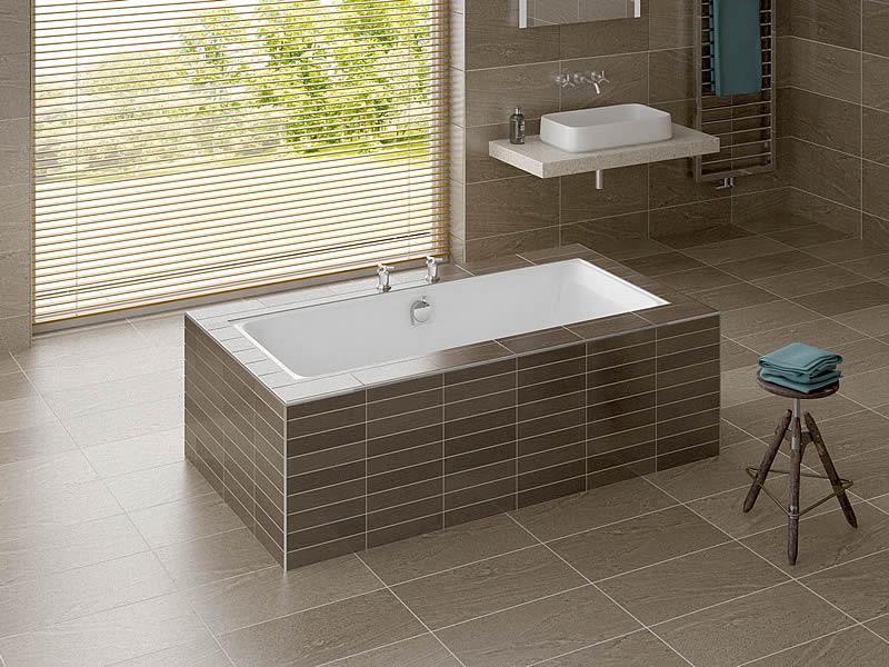 The Serenity rectangular bath, here shown undermounted beneath a tiled surround