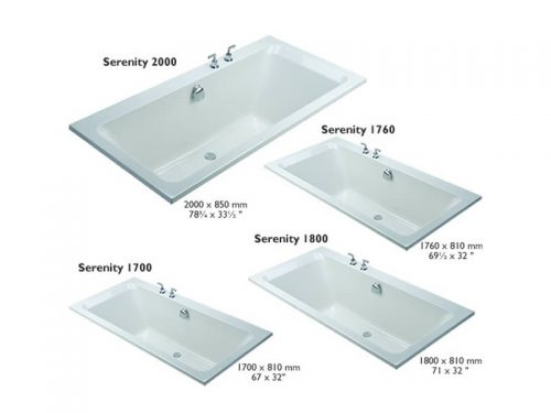 The four sizes of the Serenity rectangular bath