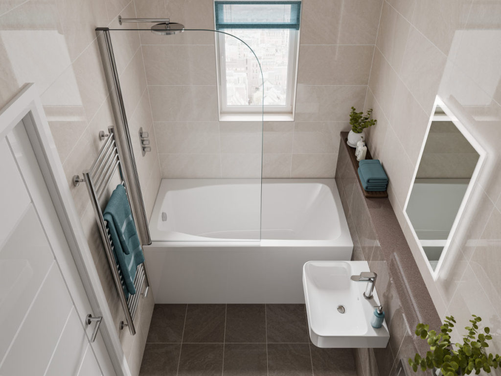 The Studio space-saving bath. A compact bath, it is shown set between the two walls of a narrow bathroom.
