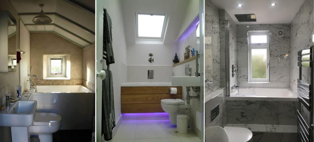 3 examples of small baths set across the back of small bathrooms.