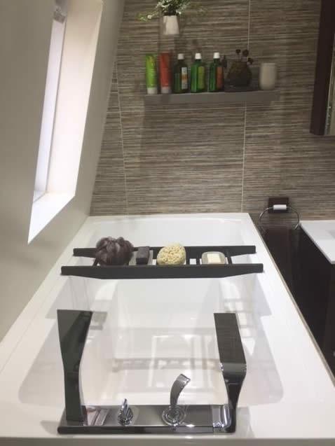 The Nirvana soaking tub, here used as a corner bath.