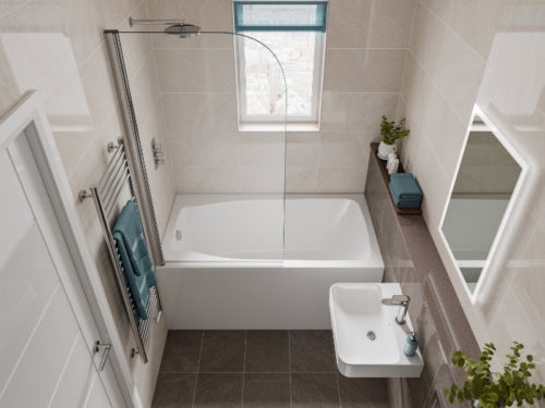 The Studio compact bath, installed across a narrow bathroom
