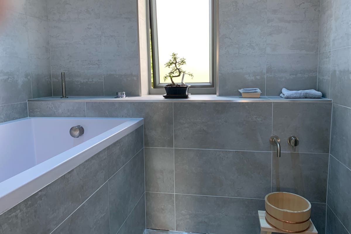 Space saving deep soaking tub in the new bathroom in Cambridgeshire