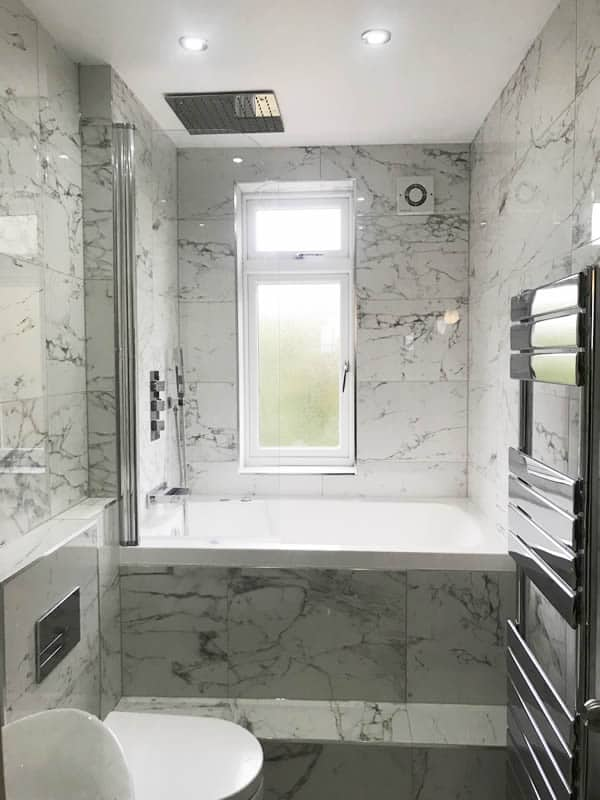 The Nirvana deep soaking tub, installed in the new bathroom in Hertfordshire