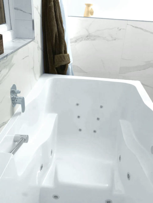 The inside of the Takara deep soaking tub, showing the specially placed water jets
