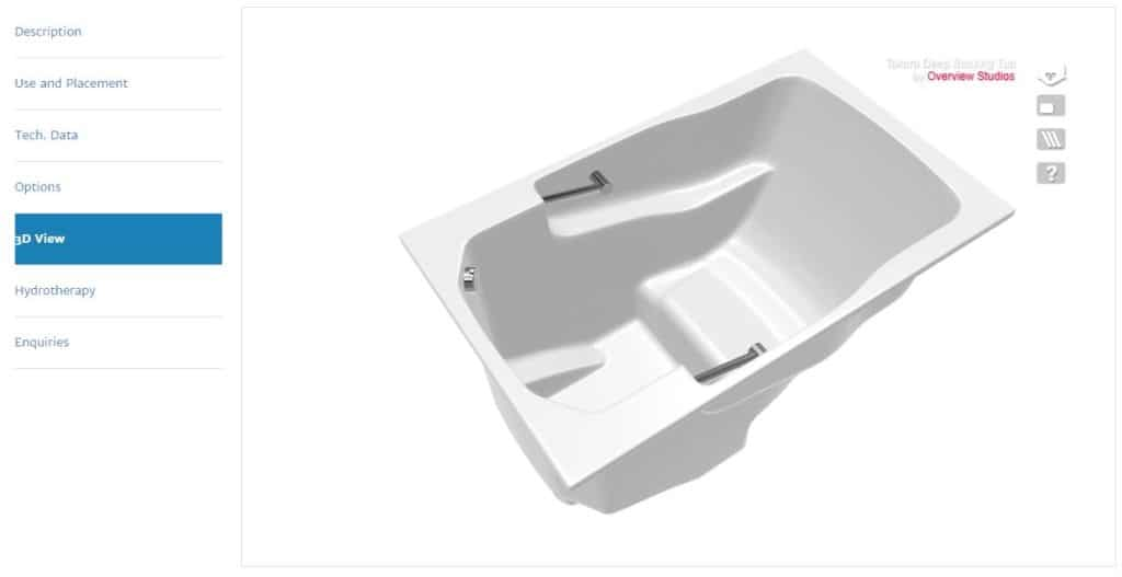 An image form the Takara soaking tub page, showing the '3D View' tab.