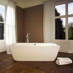 The Talisien free standing bath makes an arresting visual centrepiece