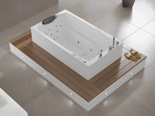 The Yasahiro deep soaking tub, fitted with hydrotherapy jets.