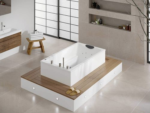 The Yasahiro deep soaking tub, shown on a raised wooden deck