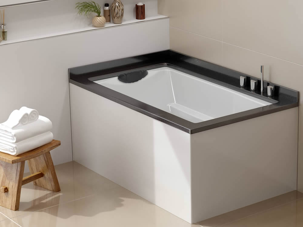 The Yasahiro Japanese Style Soaking Tub, Used As A Corner Bath. Shown  Undermounted Witha